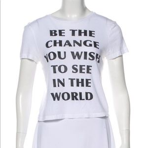 Alice + Olivia | Be The Change White Crop Tee S